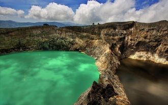 One of Indonesia's famous volcanic lake areas. I did not like Moni !